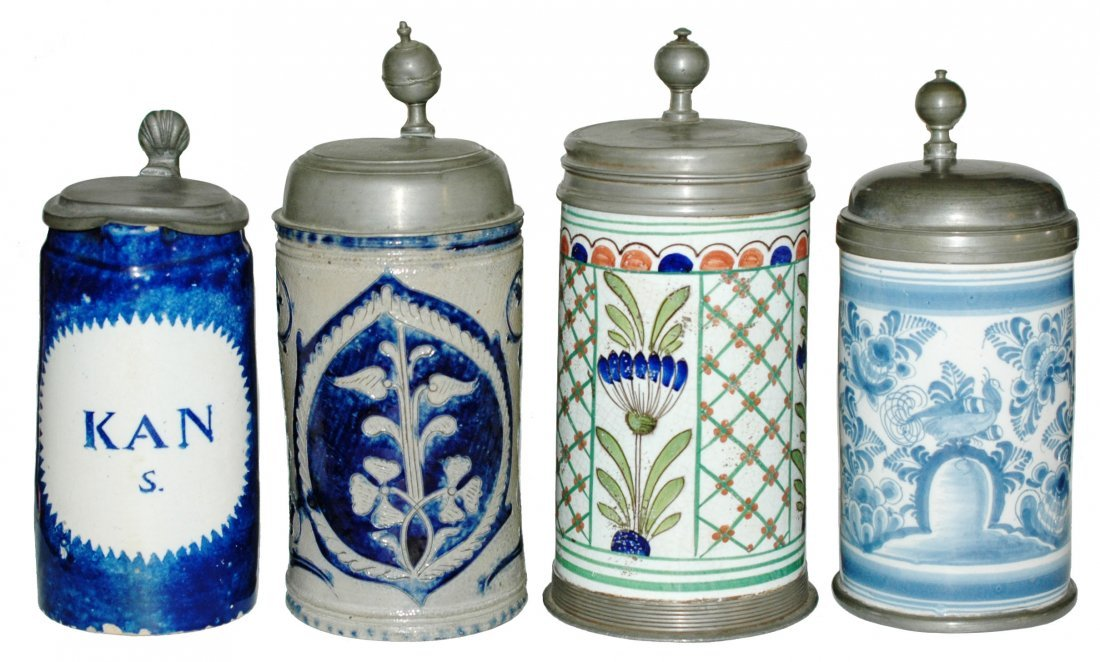 Lot of 4 Steins - 3 Faience + one Stoneware