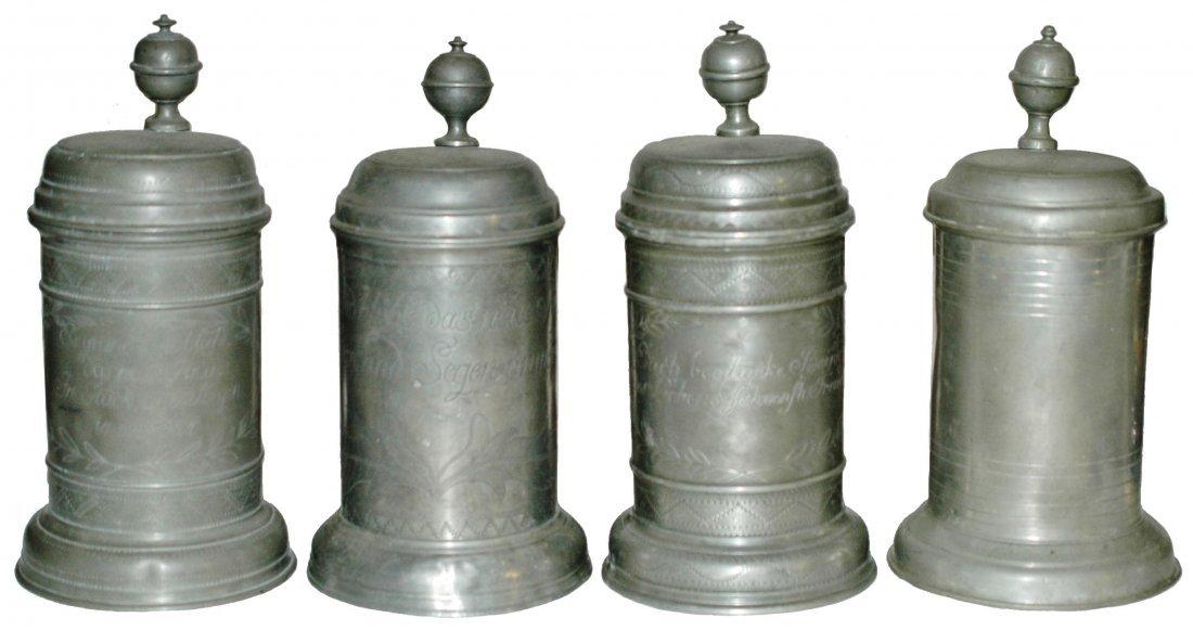 Lot of Four 1L Pewter Steins - 1780 thru 1812