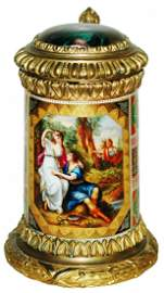 Royal Vienna Fancy Brass w Painted Soldiers Stein