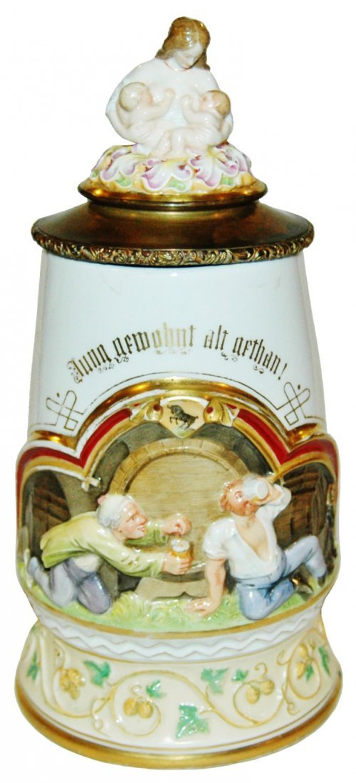 Nymphenburg Porcelain Paintd Relief Stein 3D Inlay