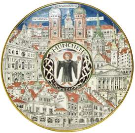 Big Mettlach Munich Child Shield & City Plaque