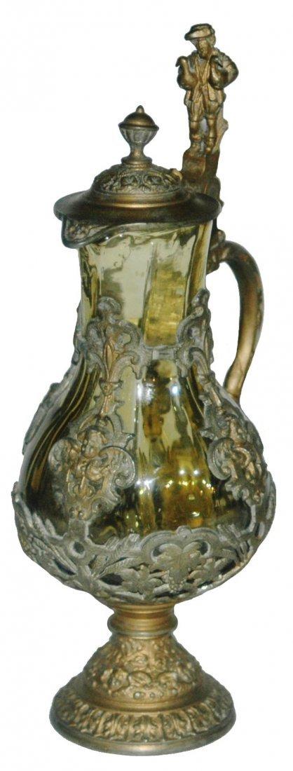 Glass & Pewter mini Stein w Cherubs & Gooseman