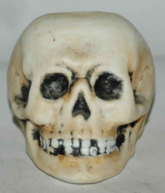 Bohne Porcelain Skull Match Holder w Anchor Mark - 2