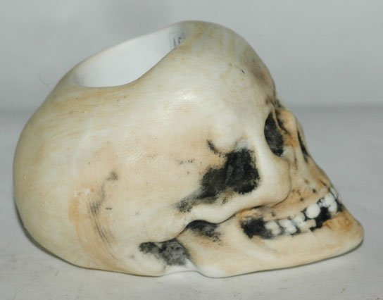 Bohne Porcelain Skull Match Holder w Anchor Mark - 3