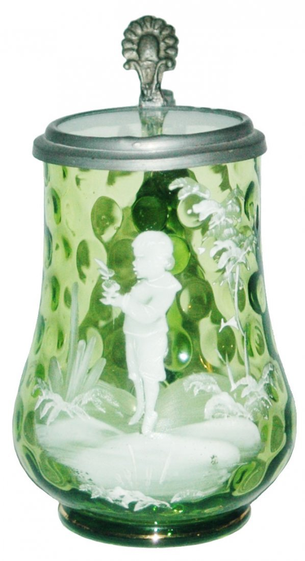 White Enamel Child on Green Glass Stein w Inlay