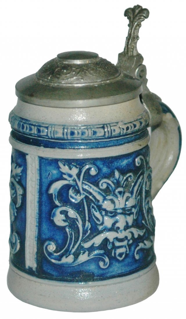 Faces & Floral Stoneware 1/8L Stein