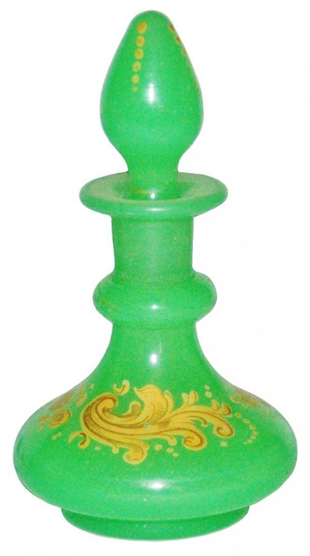 Opaline Glass Scent Perfume Bottle w Floral Enamel