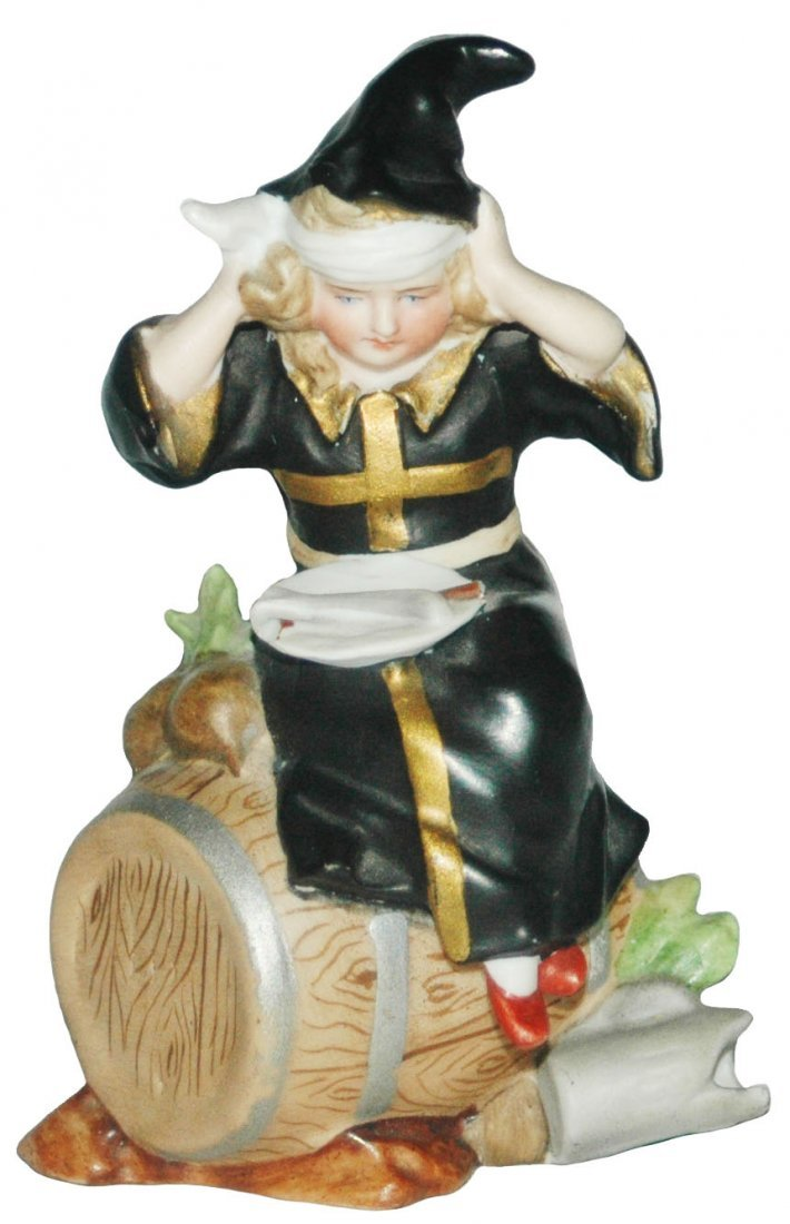 Munich Child sits on a Barrel Porcelain Figure