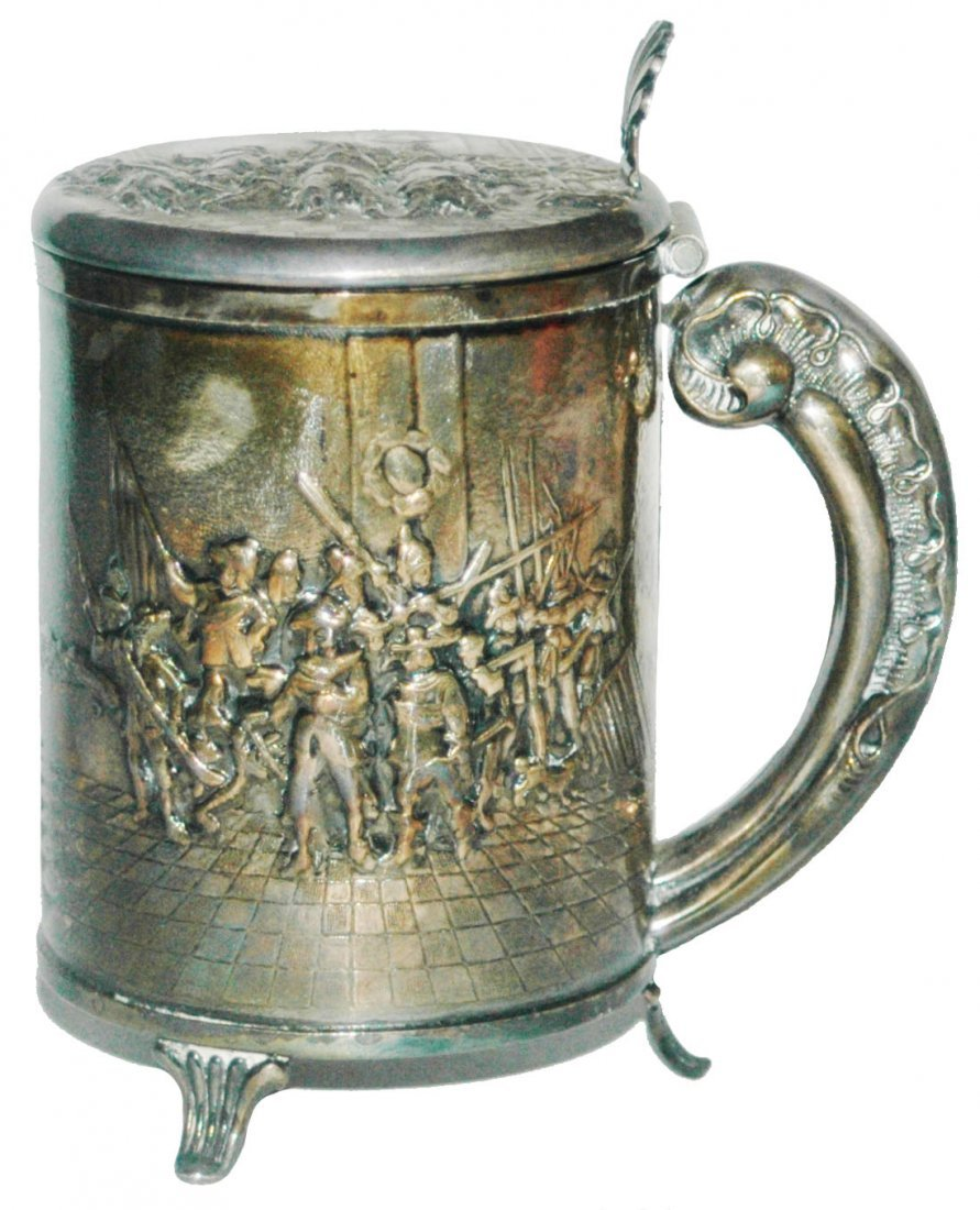Danish Silver Plate Stein w Battle Scenes & 3 Feet