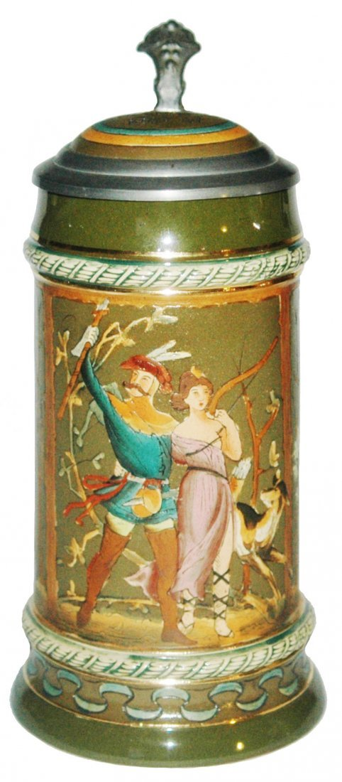 Hunter & Diana Etched Stein w Inlay Lid