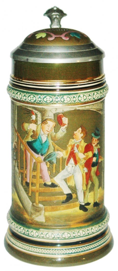 Drunks Leaving a Pub Etched Stein w Inlay Lid