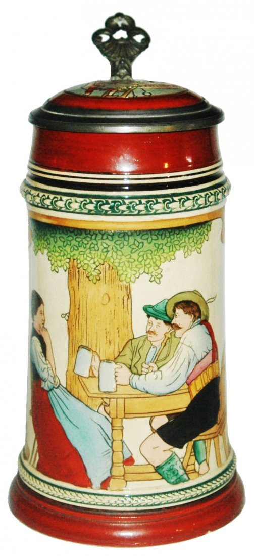 2 Men & Maiden at Table 1L Etched Stein
