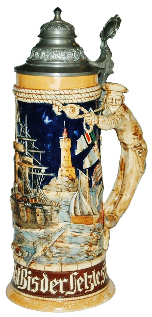 Unusual Battleship Scene w Sailor Handle Stein
