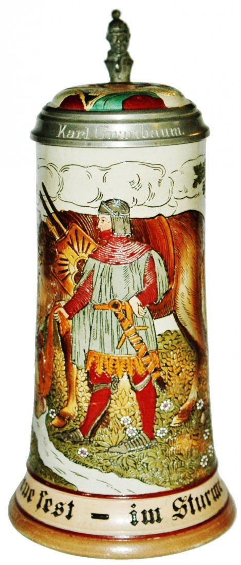 Knight and Horse Etched Stein w Inlay Lid