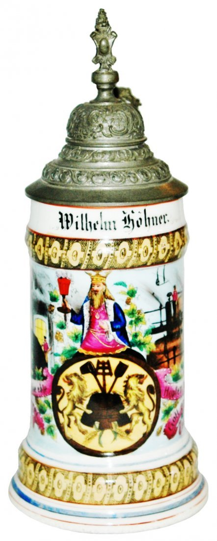 Brewer Occupational Stein w Lion & Shield Finial