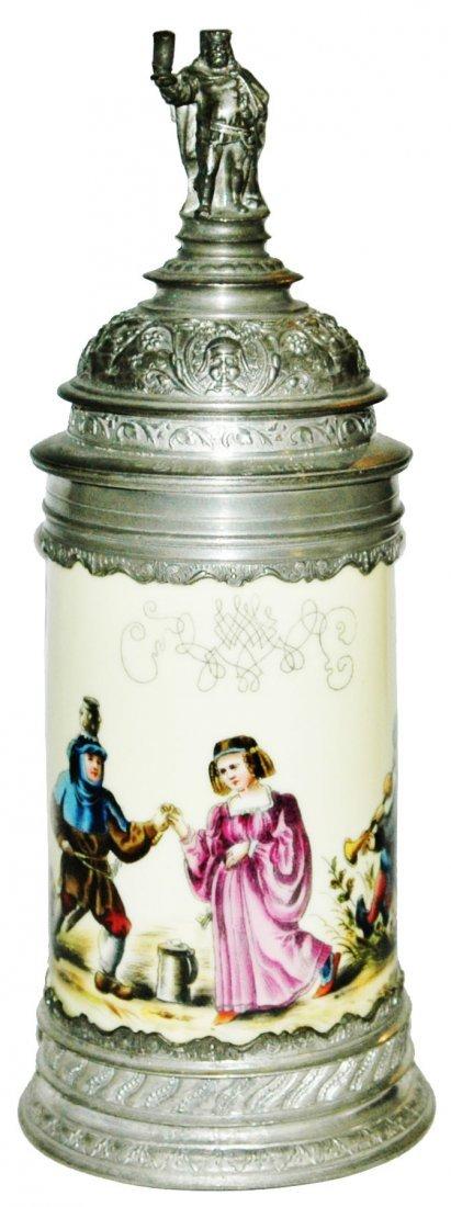 Fancy Pewter Porcelain Stein w Gambrinus Finial