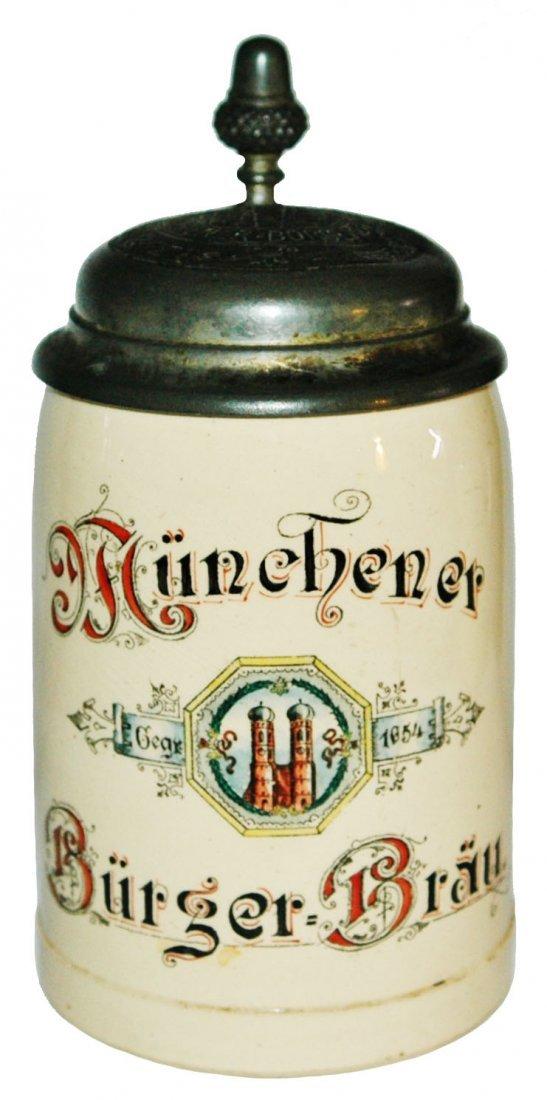 Munchner Burger Brau Brewery Stein w Matched Lid