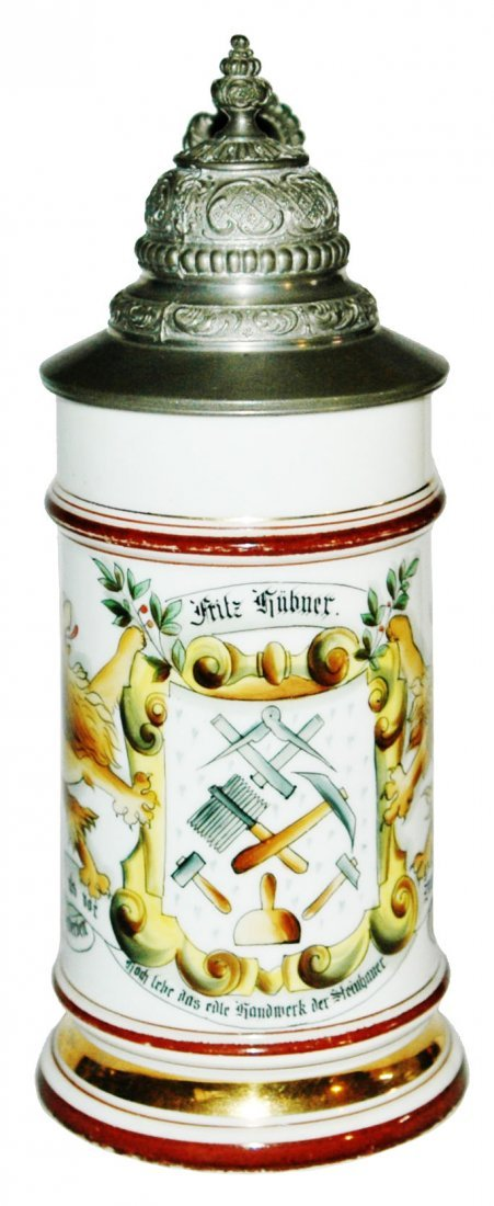 Stone Mason Occupational Porcelain Stein w Litho