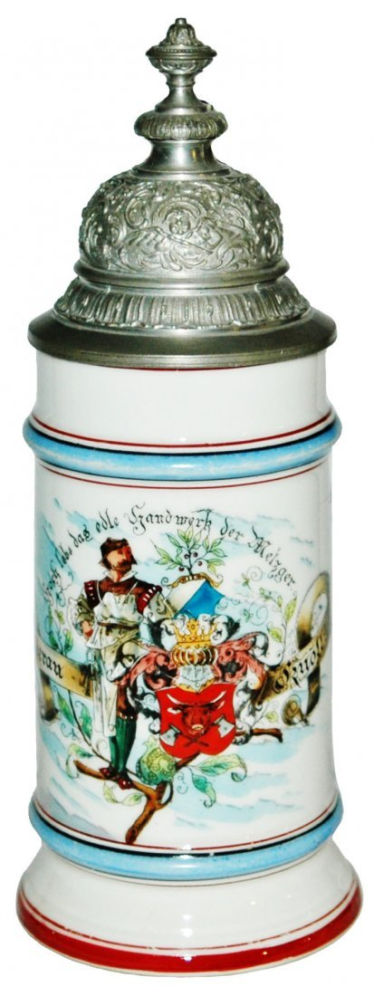Butcher Occupational Stein w Bicycle Rider on Side