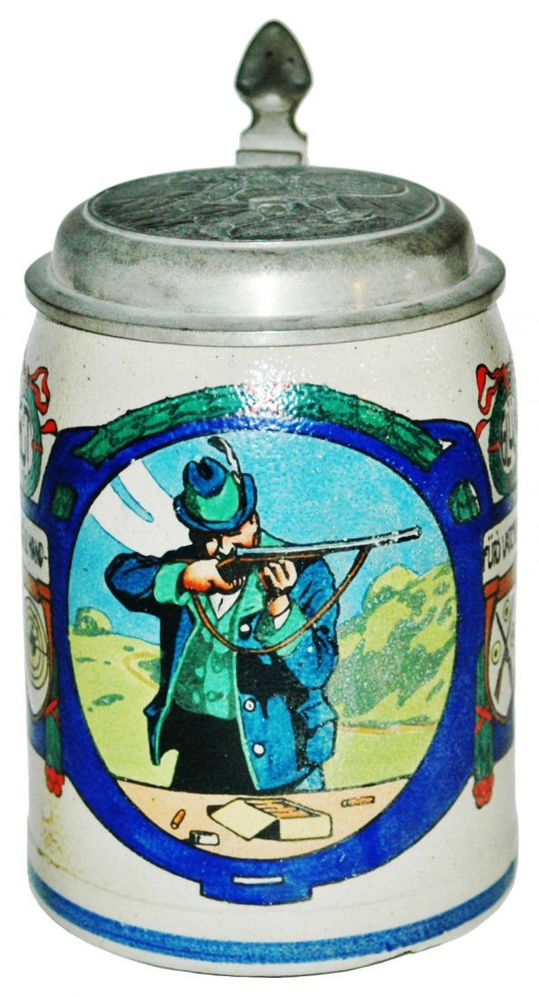 Shooting Contest Stoneware Stein w Relief Lid