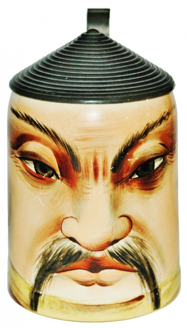 Asian Man character Stein w Coolie Hat Lid