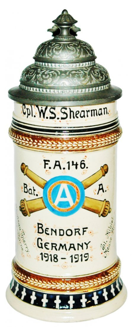 US Military WWI 146 Bat Bendorf Germany Stein
