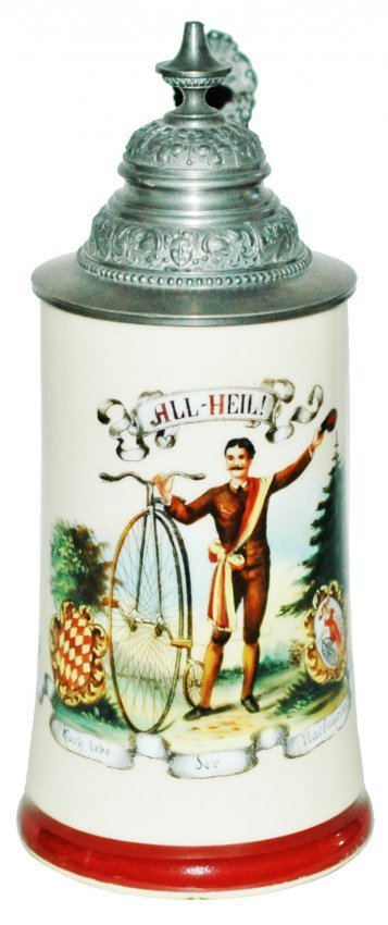Man w High Wheel Bicycle Porcelain Stein w Litho