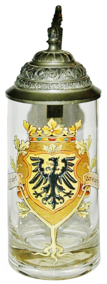 Van Hauten Enamel Eagle Shield Glass Stein