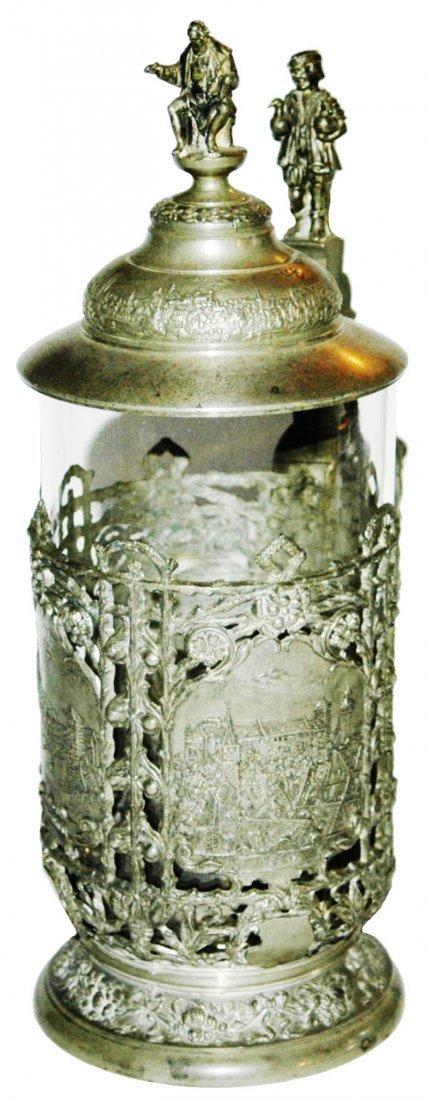 Glass & Pewter Overlay Nurnberg Scenes Stein