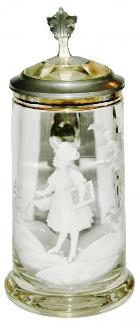 White enamel Girl w Basket Glass Stein w Prism Lid