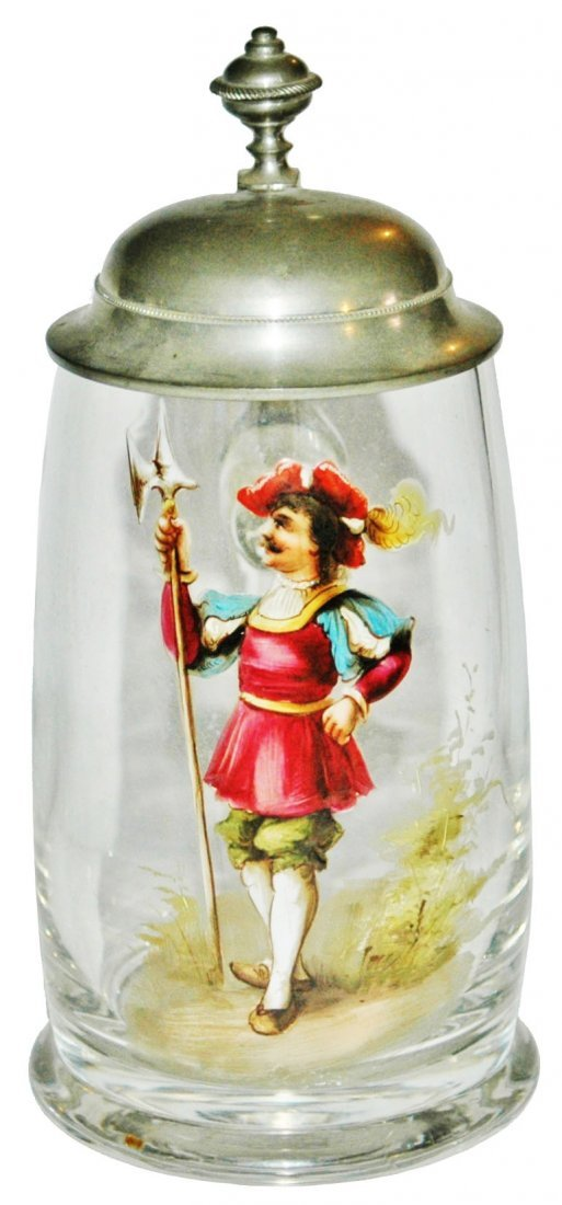 Glass Stein w Enameled Cavalier