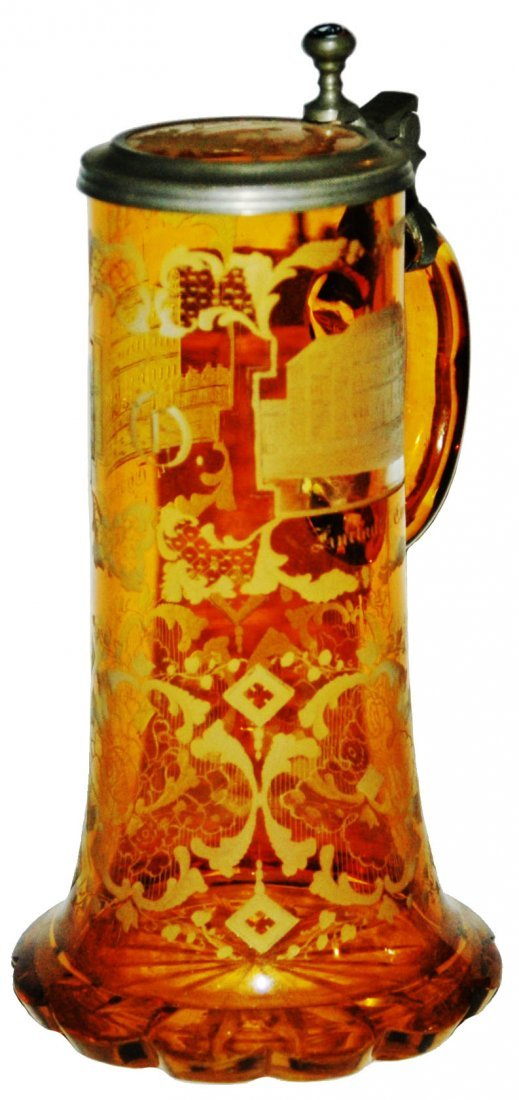 Wheel Cut Castles 1850 Glass Stein w Matched Lid