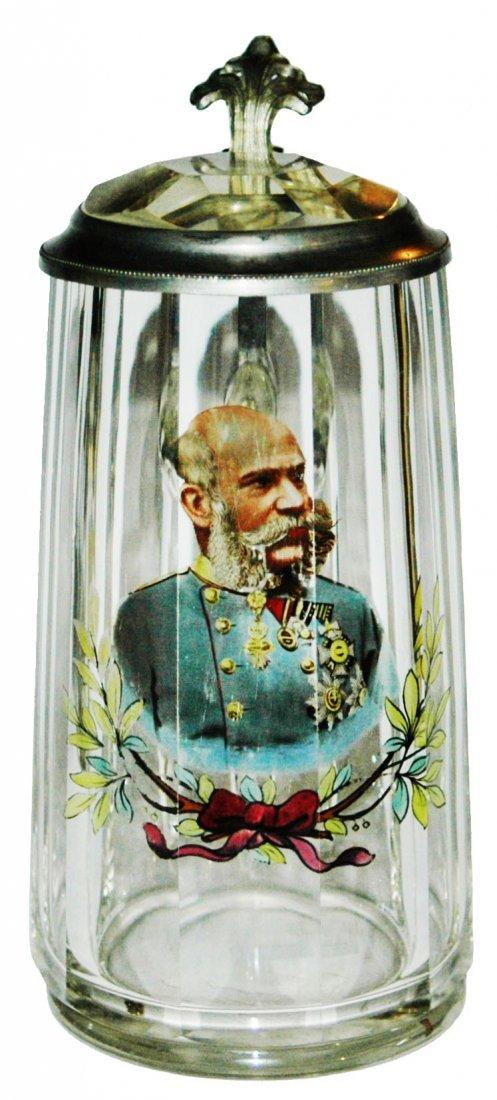 Enamel Franz Joseph Glass Stein w Prism Lid