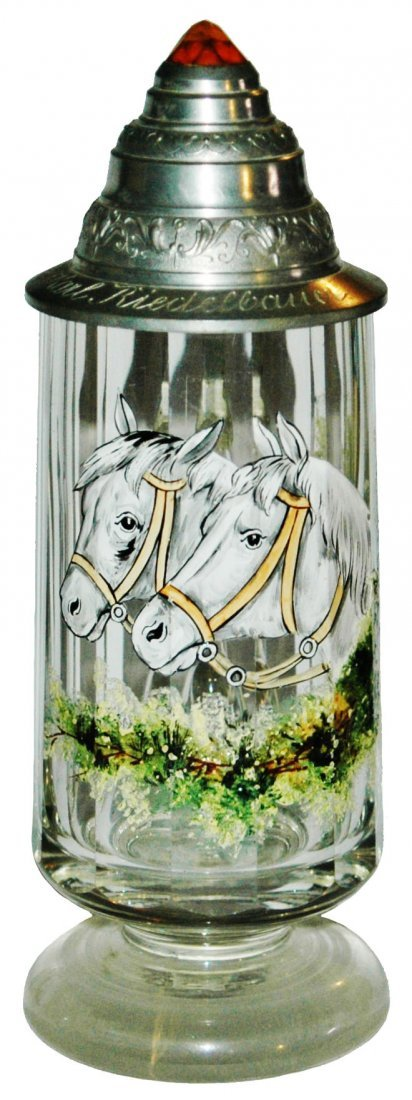 Enamel Horses on Blown Glass Stein