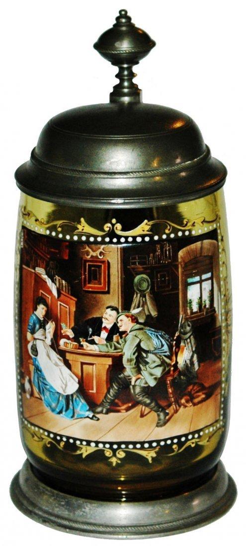 De Fregger Tavern Scene on Green Glass Stein