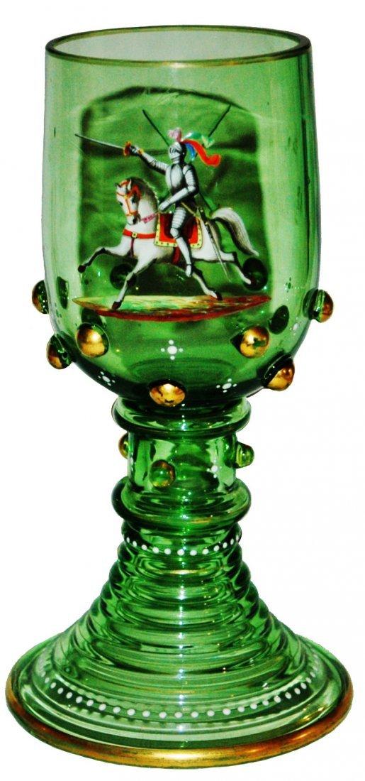 Enamel Jousting Knight Glass Goblet w Prunts