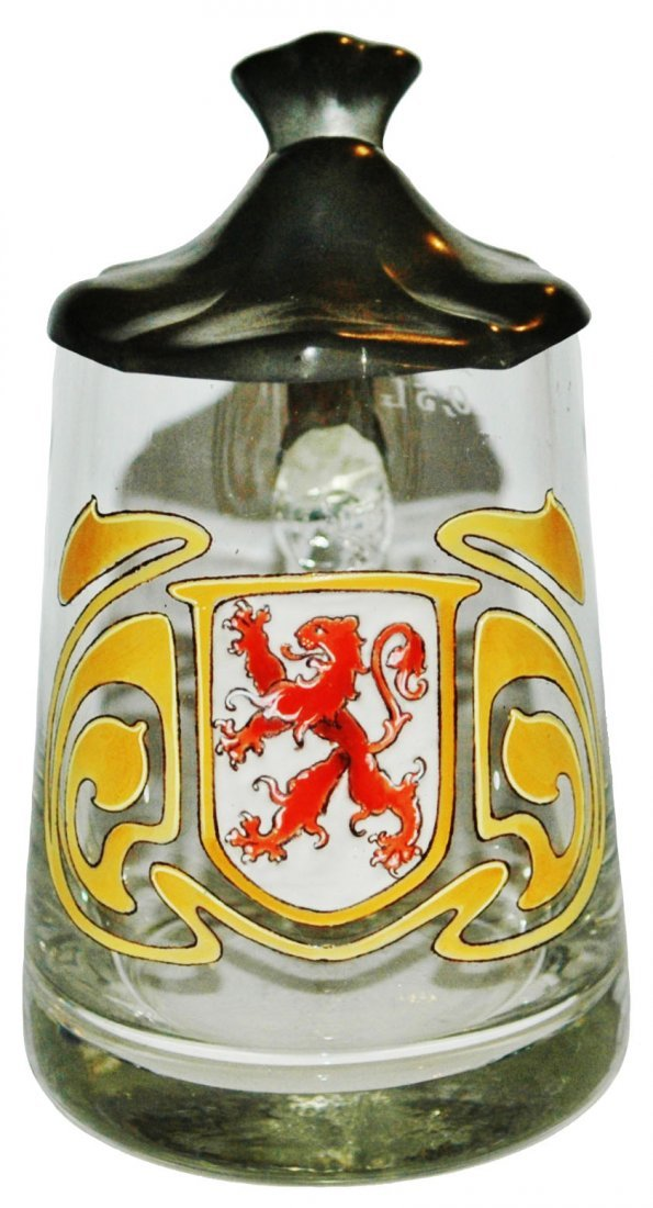 Glass Stein w Enamel Rampant Lion in Shield