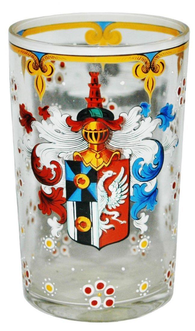 Enamel Heraldic Shield Glass Beaker