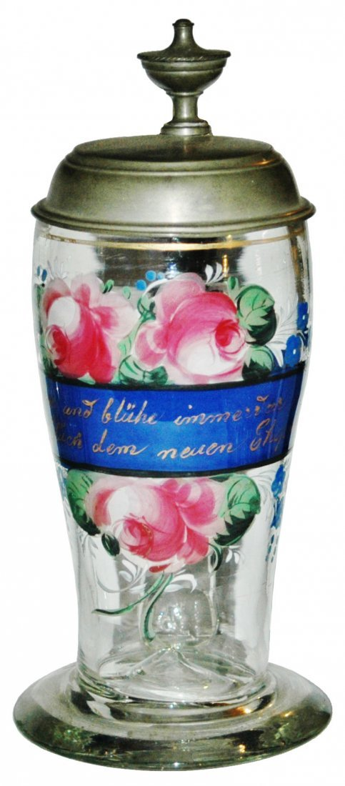 Enamel Floral 1852 Dated Glass Stein