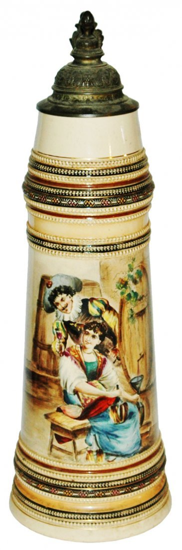 4L Cavalier & Maiden w Wine & Keg Stein