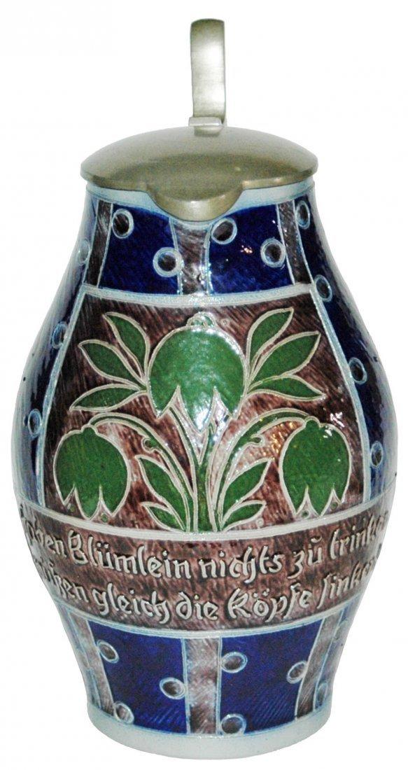 Art Nouveau Floral 2L Stoneware Etched Stein