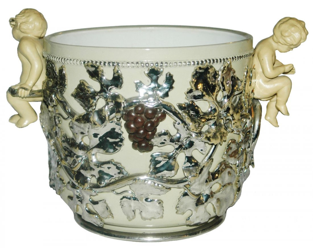 Mettlach Earlyware 4L Punch Bowl Cherubs  & Grapes