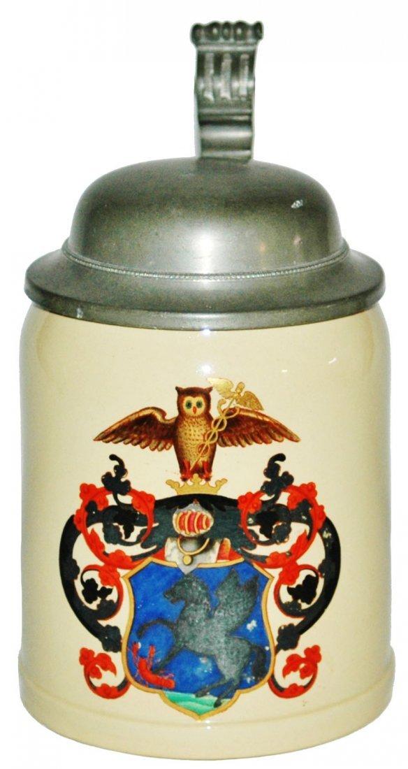 Pegasus & Owl Shield Mettlach Stein