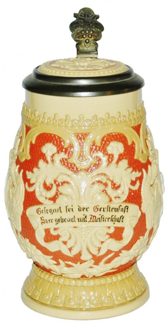 floral & Verse Mettlach Stein w Inlay Lid