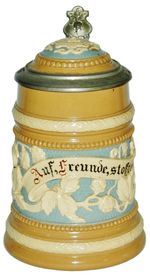 Floral & Verse Mettlach 1/4L Stein w Inlay Lid