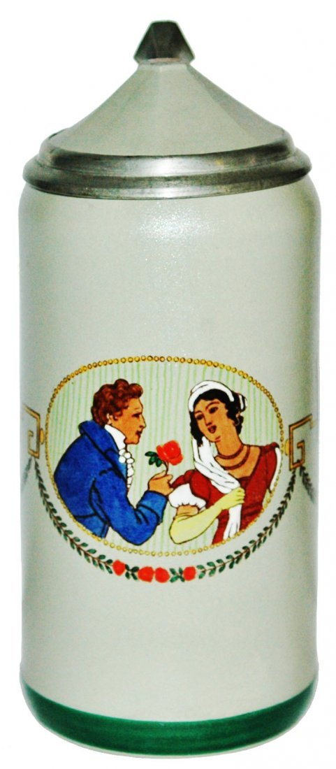 1L Mettlach Bavaria Stein Signed FQ Couple w Inlay