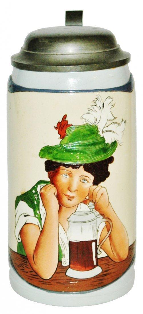 Mettlach 1L Bavarian Woman w Stein of Beer