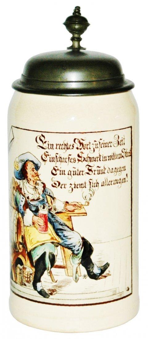 Mettlach 1L Cavalier Smoking & Drinking Stein