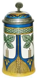 Mettlach Art Nouveau Wheat Design Stein wInlay Lid