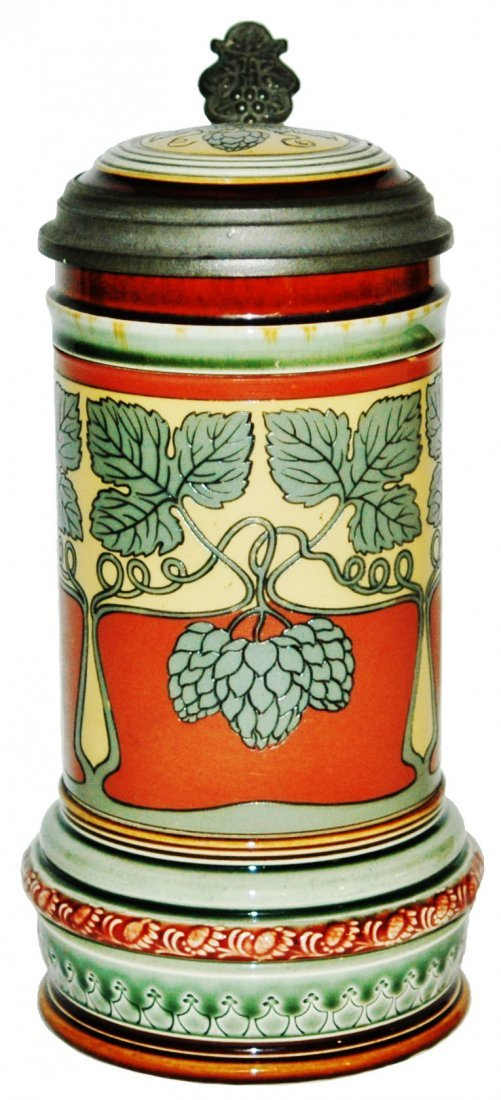 Art Nouveau Hops Design Mettlach Stein w Inlay